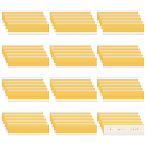 Etikettenträger 60 Stück Selbstklebende Etikettenhalter Regal Etikettenhalter für Einstecketiketten 9.9 * 3cm Beschriftungsfenster Transparente Etikettenträger für Büro Supermarkt Bibliothek