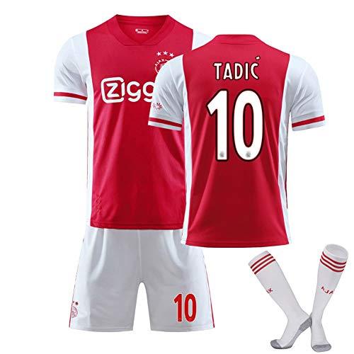 XMQW AFC AJAX 20/21 Camisetas de fútbol Juego Local/Visitante No. 10 Dusan Tadic Calcetines de Jersey Y Conjunto de Pantalones Cortos Camiseta de fútbol, para niños Adultos,B,L