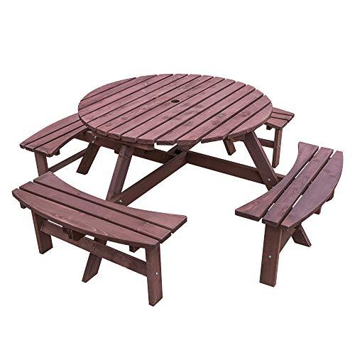 Saiyun 8-Sitzer-Holz-Picknicktisch und Bank für Garten, Kneipe, Terrasse, Esszimmer, Outdoor-Möbel, 30 mm Holzrahmen und 5 cm Sonnenschirmloch