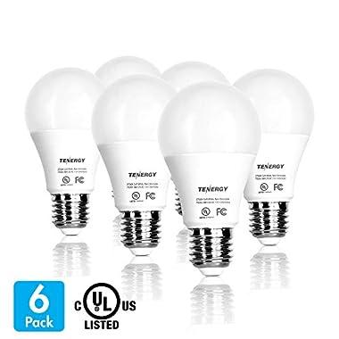 Tenergy 9WLED Bulb60 Watt EquivalentA19 LED Light Bulbs,E26Household Lightbulb,750 LumensEnergy Saving LampSoft/Warm White 2700K Lights, 220°Beam Angle, 6-Pack, Non-Dimmable