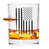 Real Projectile American Flag Whiskey Rocks Glass – Hand Blown Glasses – 8 Oz Old Fashioned Glass for Scotch, Bourbon or Whiskey – .308 Bullet Whiskey Glass