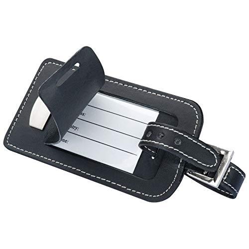 Schwarzer Kofferanhänger aus Bonded Leder (Lederfaserstoff) mit Metallplättchen - verdecktem Adressfeld und Ziernaht