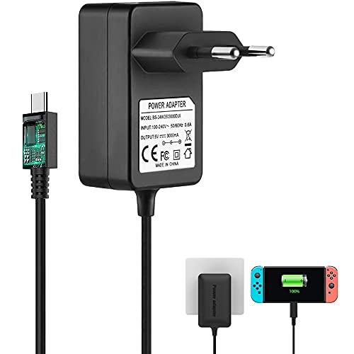 BERLS Caricabatterie per Nintendo Switch Lite, 5V 3A Raspberry Pi 4 Alimentatore USB-C,Compatibile con la Versione Raspberry Pi 4 Modello B da 1 GB/2 GB/4 GB, Nintendo Switch Lite