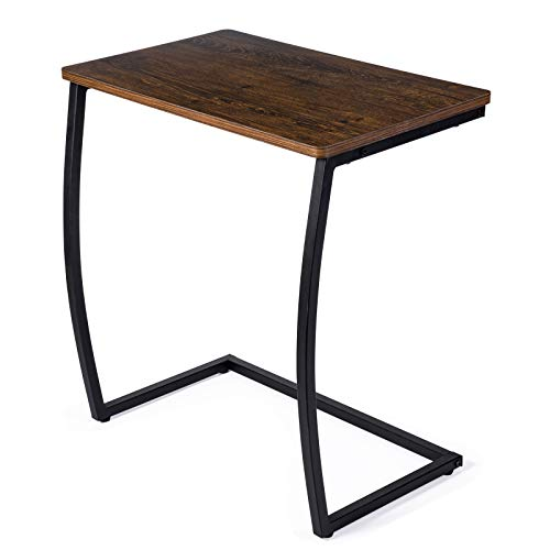 SRIWATANA End Tables Living Room, Sofa Side Couch Table, Vintage C Table for Laptop Coffee Snack, Dark Walnut