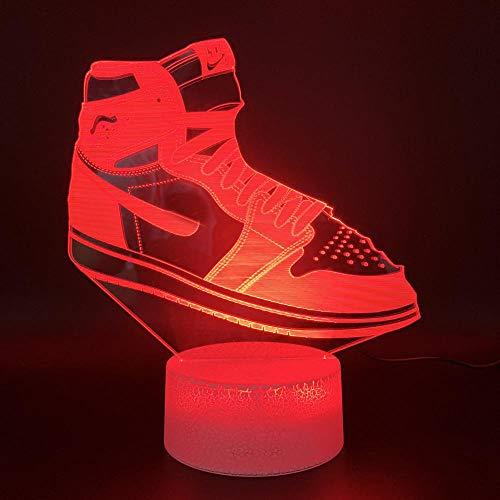 Lampe D'Illusion 3D Led Veilleuse Jordan Neaker Air Force 1 Maison Luminaria Bright Base Cadeau D'Anniversaire Pour Enfants Enfant Chambre