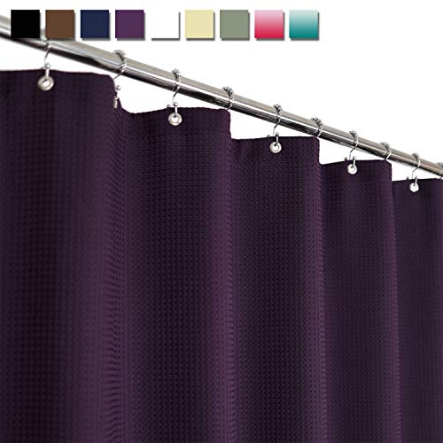 Barossa Design Waffle Weave Shower Curtain Hotel Luxury Spa, 230 GSM Heavy Duty Fabric, Water Repellent, Purple, 71x72 Inch