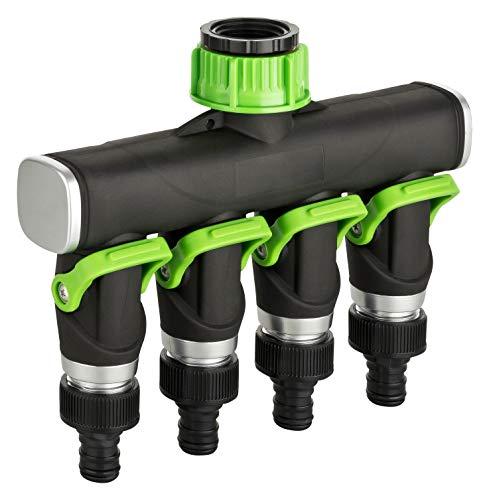 Dunlop 4 Wege Verteiler Wasser - Stufenlos Einstellbarer Wasserverteiler mit Schnellkupplung 3/4´´ Zoll Wasserhahn Adapter Garten Gartenschlauch 4-Wege-Verteiler 4fach 4er Splitter (4-Wege-Verteiler)