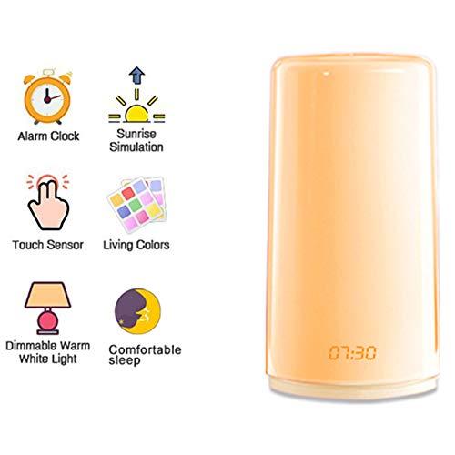 LED Wakker Licht Wekker Touch Sensor Nachtlampje Met 5 Natuurgeluiden Zonsopkomst Simulatie Kleurverandering 3 Helderheid USB Oplaadbare Kerstcadeau