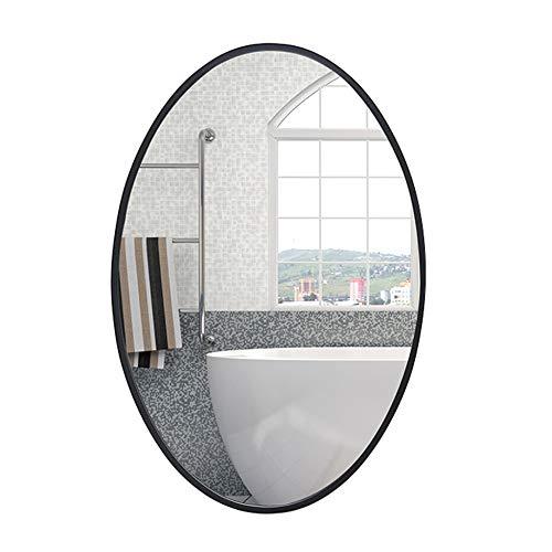 Espejo de baño, espejo de vanidad de pared ovalado, adecuado para baño, sala de estar, pasillo, marco de hierro forjado, a prueba de humedad, a prueba de herrumbre, imagen clara/Negro / 60x80C