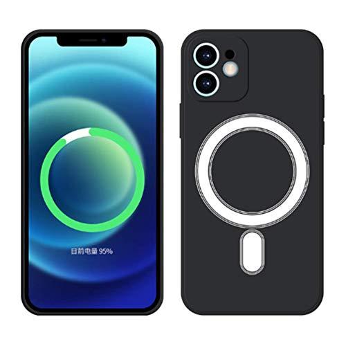 CrazyCat Silikon Hülle mit Mag-Safe für iPhone 12 Pro Eingebauter Magnet Kreis Dünn Weich Stoßfest Cover Kratzfest Handyhülle Ganzkörper Schutzhülle für iPhone 12 Pro 2021 Schwarz