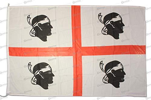 Flagge Sardegna 225x150 cm aus winddichtem Nautico-Gewebe 115g/m2,Flagge Sarda 225x150 waschbar Flagge 225x150 mit schnur, Doppelnaht Perimetral und Verstärkungsband