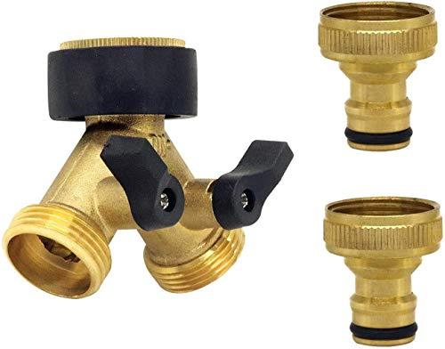Abnaok 2-Wege Y-Verteiler für Zulaufschläuche 3/4 Zoll mit Absperrhähnen, Verteiler Anschluss Wasser zum Anschluss von 2 Geräten Kühlschrank und Spül- Waschmaschine