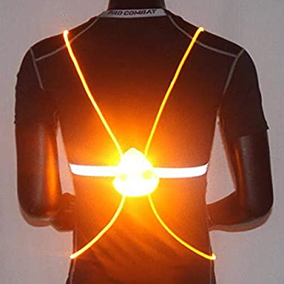 Heread LED Running Light Reflective Vest Illuminated Safety Gear High Visiblity Night Lights Multicolored Fiber Optics Night Sports Vests Running Walking Cycling for Women and Men (Yellow Light)