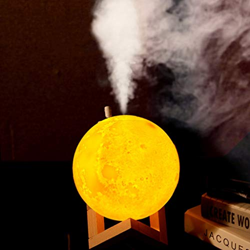 Purificador de Aire con Luz de Noche Luna Humidificador Aromaterapia Difusor de Aceites Esenciales Difusores de Aroma para Yoga SPA Oficina Habitación Dormitorio (A)