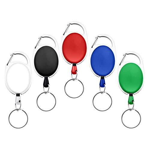 Fushing 5 Farben Einziehbare Abzeichenhalter Carabiner Rollen Schlüsselhalter Ketten mit Metall Split Ring