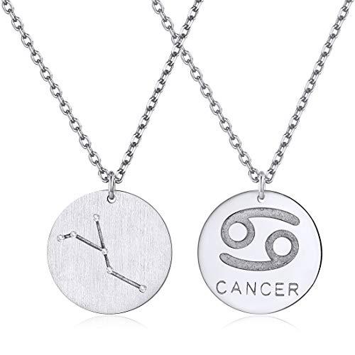 ChicSilver Krebs Kette Sternzeichen Anhänger 925 Silber Horoskop Anhänger für Damen mädchen Frauen