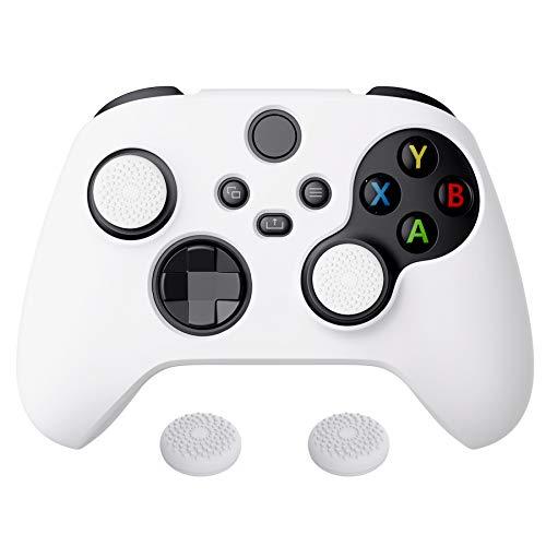 PlayVital Biała seria Pure antypoślizgowa silikonowa osłona skóra do kontrolera Xbox Series X, miękka gumowa osłona etui do kontrolera Xbox serii S z białymi nakładkami na kciuki