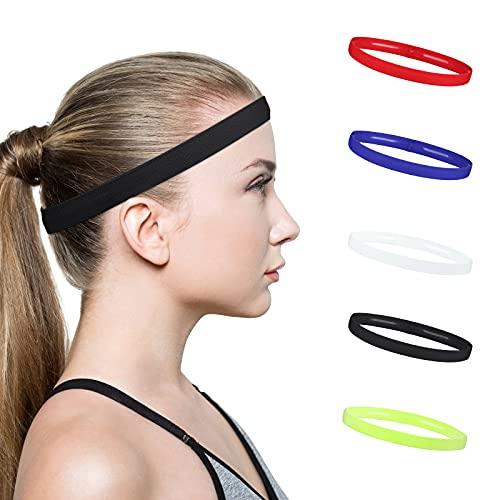 HASAGEI Sport Stirnbänder rutschfeste Elastische Haarband Passend für Jede Kopfform für Damen Frauen Herren Mädchen Kinder 5 Stücke