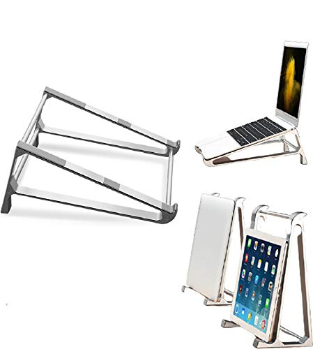 """HFGHGDF Aluminum Portable Ventilated Laptop Mini Holder Ventilated Foldable Riser Cooling Desktop Laptop Computer Tray Mount Compatible with 10-15.6""""Laptop"""