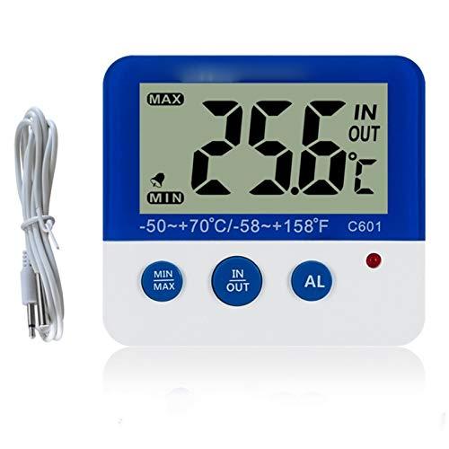 Termometro Digitale per congelatore/Frigorifero con Magnete e Stander Termometro Digitale per congelatore con indicatore di Allarme a LED Memoria Massima/Minima Congelatore