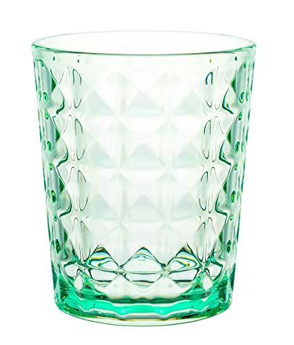 KLIFA- AMOR Series, Acrylic Drinking Glasses Tumblers, Set of 6, 16 oz, BPA-Free, Stackable Drinkware, Dishwasher Safe, Green