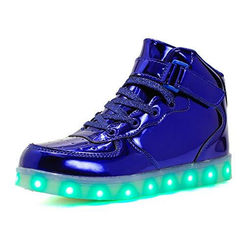 Kauson 7 Farben LED High-Top Schuhe USB Aufladen Leuchtschuhe Licht Blinkschuhe Leuchtende Sport Sneaker Light up Wasserdicht Laufschuhe Gymnastik Turnschuhe Damen Herren Unisex Kinder Shoes 25-46EU
