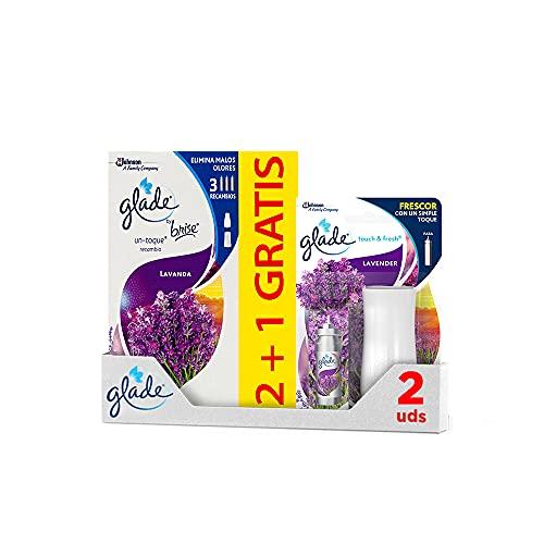 Un Toque by Glade® Ambientador Fragancia Lavanda. Elimina los malos olores, Hasta 10 veces más frescor - 1 Disfusor + 3 Recambios de 11ml
