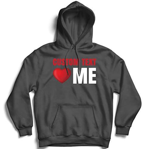 lepni.me Sudadera con Capucha Texto Personalizado Ámame Estilo Retro de corazón clásico Lema Personalizado (X-Large Grafito Multicolor)