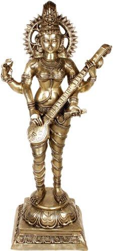 Vina-Vadini Saraswati - Brass Sculpture