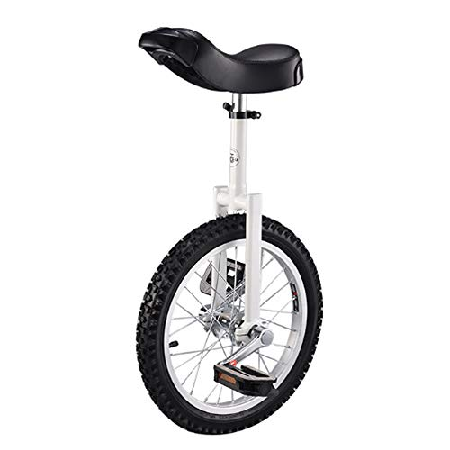 Why Should You Buy Niguleser Adjustable Unicycle, 24″ Wheel Trainer Unicycles, Skidproof Butyl Mountain Tire, Strong Steel Frame, Contoured Ergonomic Saddle, Capacity Up to 200 lbs,White