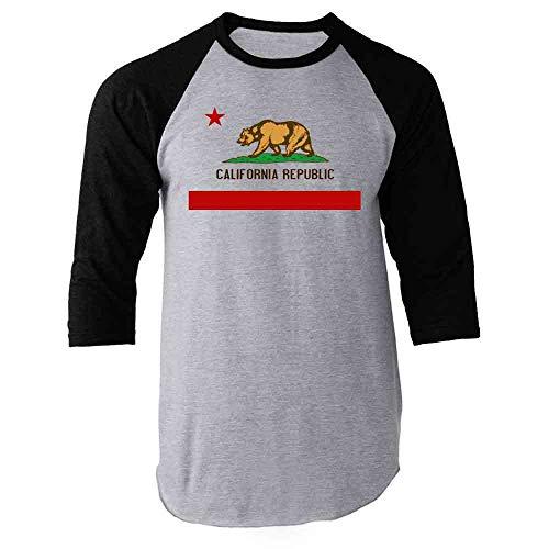 Pop Threads California Republic Calexit Flag Black S Raglan Baseball Tee Shirt