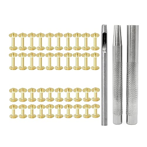 Cobre/latón remachado doble tapa remaches tubulares pernos de metal con punzón para ropa decorativa 0.55/0.75 pulgadas remaches de cuero y kit de broches