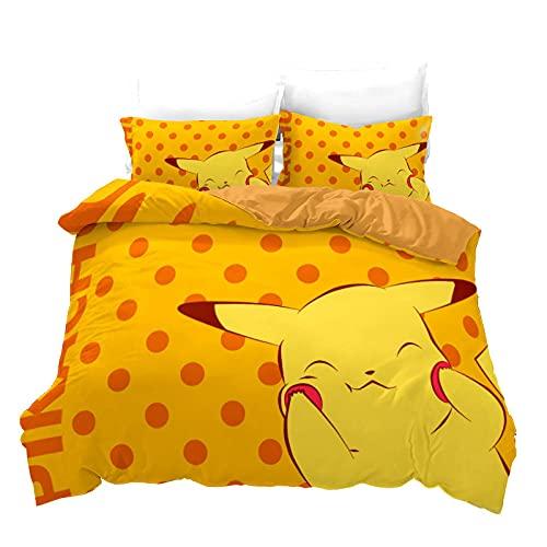 Housse Couette Ensemble 3 Pièces Pokémon Pikachu Literie pour Enfants 135X200 Cm avec 2 Taies d'oreiller 50X70 Cm Polyester avec Fermeture Éclair pour Les Lits d'enfants Et Les Lits Simples