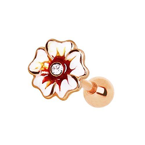 eeddoo® Tragus OHRPIERCING aus Rosegold mit Design Hibiskusblüte Kristall