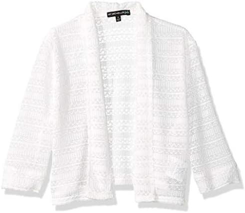 My Michelle Girls Big Lightweight Crochet Knit Drape Front Sweater Ivory S product image