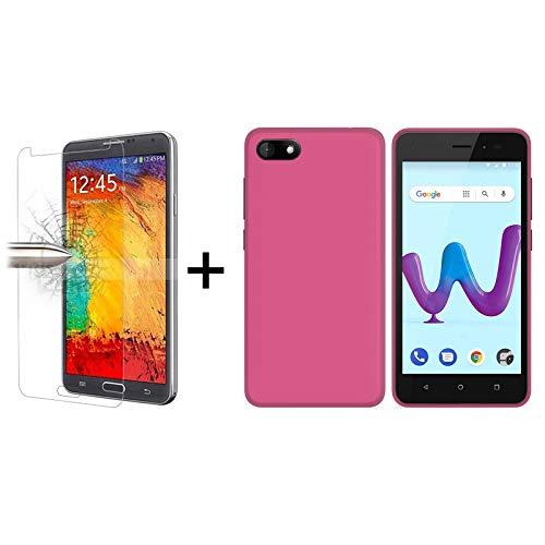 TBOC Pack: Rosa Gel TPU Hülle + Hartglas Schutzfolie für Wiko Sunny 3 (5.0 Zoll) - Superdünn Flexibel Silikonhülle. Panzerglas Bildschirmschutz in Kristallklar in hohe Qualität.