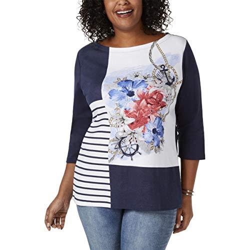 Karen Scott Womens Plus Embellished Floral Top Navy 2X