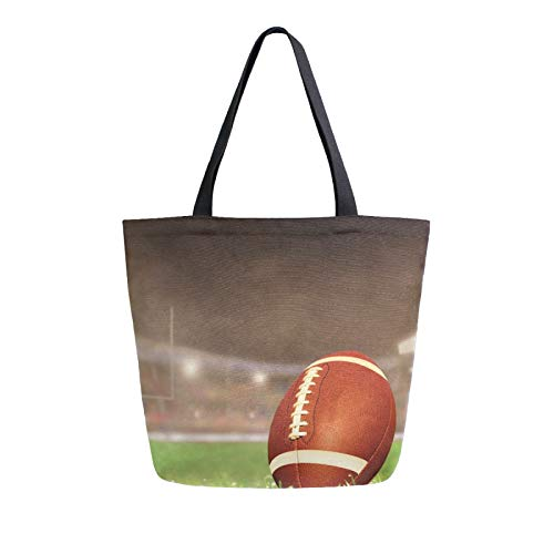 iRoad Women Canvas Bags Sport Rugby Ball Game Shopping Purse Handbag Reusable Grocery Bags Large Canvas Bag Tote for Travel School Work