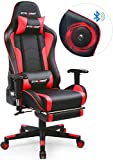 GTRACING Gaming Chair with Footrest and Bluetooth Speakers Music Video Game Chair Connect Mobile PC PS4【Patented Design】 Heavy Duty Ergonomic Computer Office Desk Chair Red