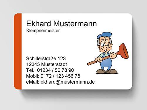 100 Visitenkarten, laminiert, 85 x 55 mm, inkl. Kartenspender - Klempner