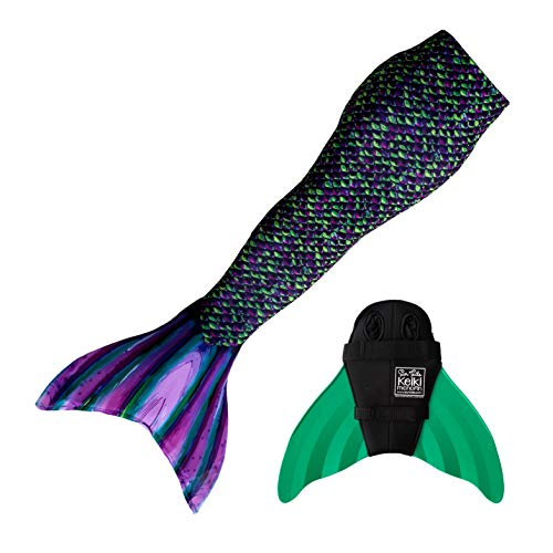 Sun Tails Mermaid Tail + Monofin for Swimming (1- Child M (6/7), Dragon Tail - Green Monofin)