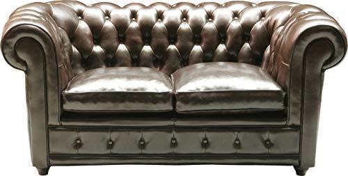 Kare Design Sofa Oxford 2-Sitzer, Echtledersofa, Chesterfield Sofa, Zweisitzer Ledersofa Lounge, Vintage Couch Leder Chesterfield, (H/B/T) 76x160x92cm