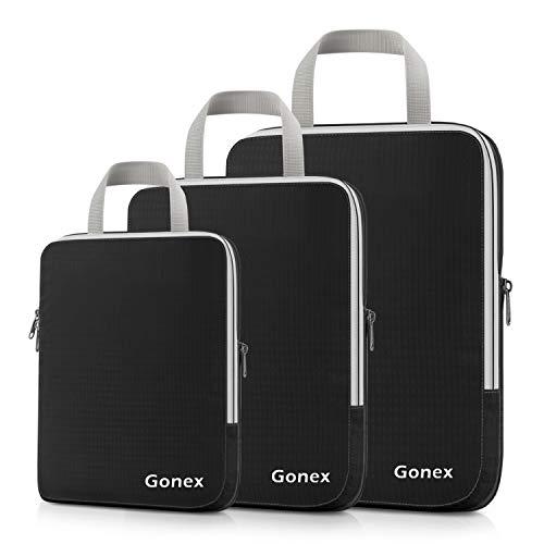 Gonex Erweiterbare Reisetaschenorganisatoren (3er-Paket) Standard schwarz