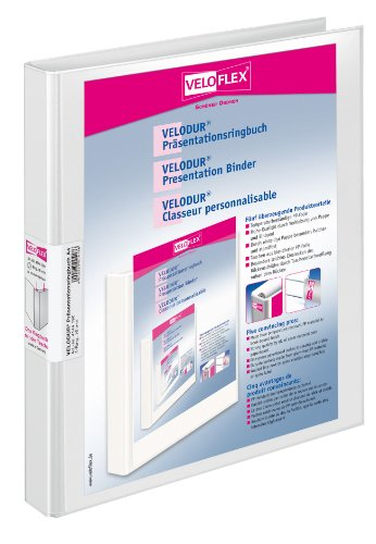 Veloflex 4144190 Präsentations-Ringbuch Velodur, DIN A4, 4-Ring-Mechanik, 257x 315 x 20, mit Außentaschen, weiß