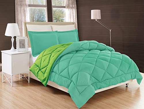 Elegant Comfort All Season Comforter and Year Round Medium Weight Super Soft Down Alternative Reversible 3-Piece Comforter Set, Full/Queen, Aqua/Lime