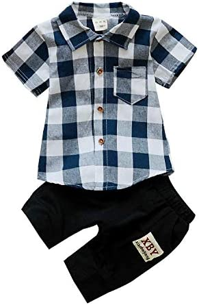 Conjuntos para Niño Verano Camisa de Cuadros Mangas Cortas ...