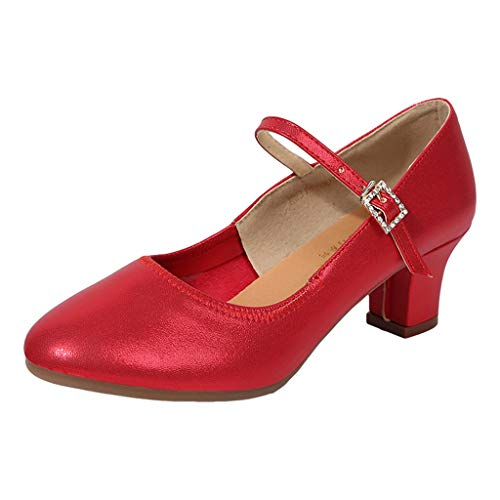 Damen Standard Tanzschuhe Flamenco Pumps Prinzessinnen Schuhe Jazzschuhe Trainingsschuhe Mittelhohe Weiche Sohle für Ballerina Latein Salsa Tango Celucke