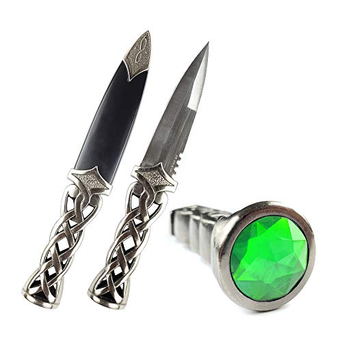 PS 9' New Scottish Celtic Gaelic Twist Knot Ruby Gemstone Wicca Dirk Dagger Knife (Green)