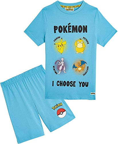 Pokémon Pyjama Garcon - Ensemble Pijama Court 2 Pièces T-Shirt Et Short Enfant Pikachu, Mewtwo, Vêtements Été Enfants 4-14 Ans - Idée Cadeau Ado Garçons Filles (Bleu foncé, 11-12 Ans)