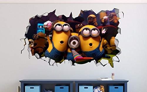 Liuxz Pegatinas de Pared 3D Minions 3 Smashed 3D Pared calcomanía niños Pegatina decoración Vinilo Cartel